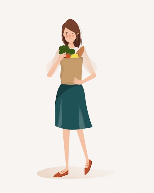 Lifestyle hand drawn of young woman shopping some organic food. Premium Vector
