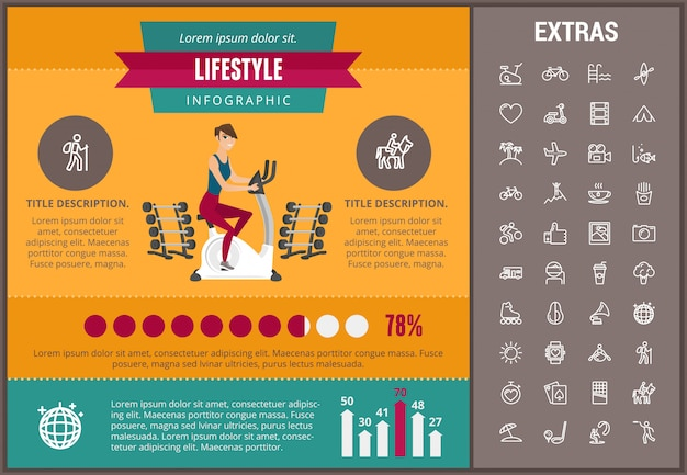 Lifestyle infographic template, elements and icons Premium Vector