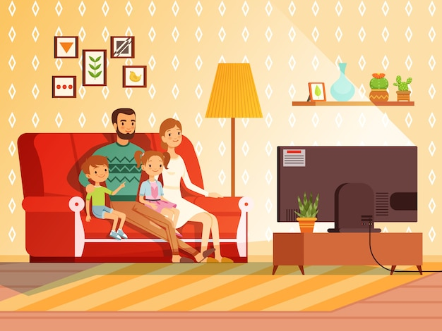 Lifestyle of modern family. Premium Vector