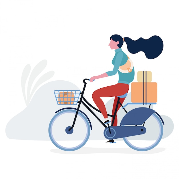 Lifestyle teenage with bicycle illustration design Premium Vector