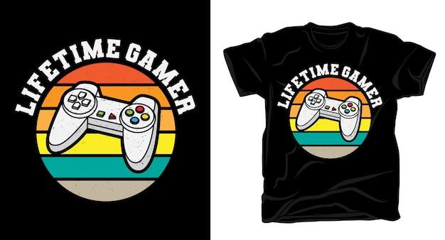 Винтажная типографика для геймеров с контроллером для футболки Premium векторы