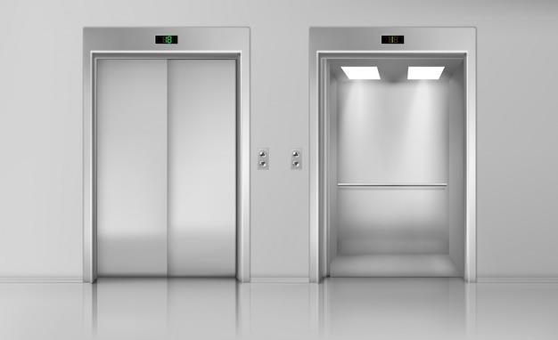 문을 들어 올리고 빈 엘리베이터 오두막을 닫고 엽니 다. 무료 벡터