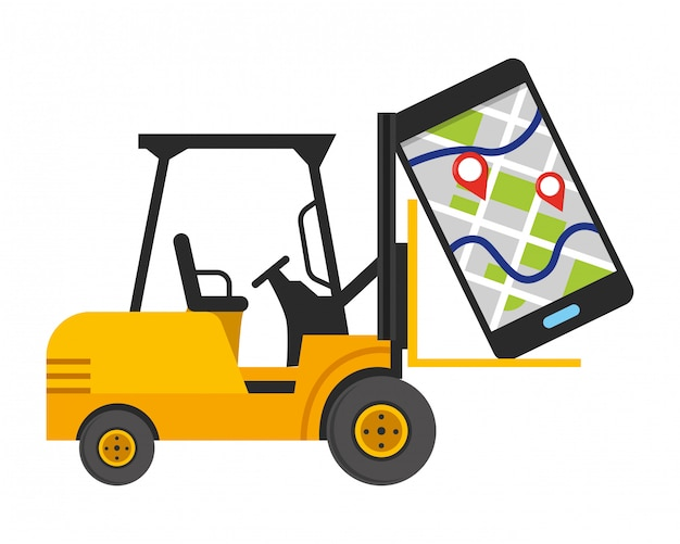 Lift truck and cellphone illustration Premium Vector