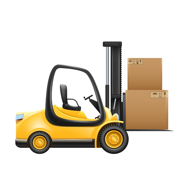 Lift truck with box isolated on white background Free Vector