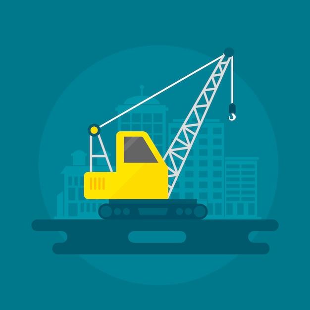 Lifting crane flat Free Vector