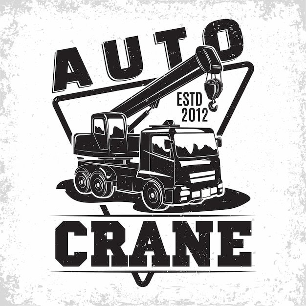 Lifting work logo design with an emblem of crane machine rental Premium Vector