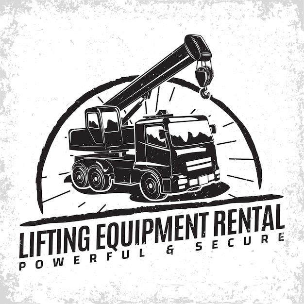 Lifting work logo , emblem of crane machine rental organisation print stamps, constructing equipment, heavy crane machine typographyv emblem, Premium Vector