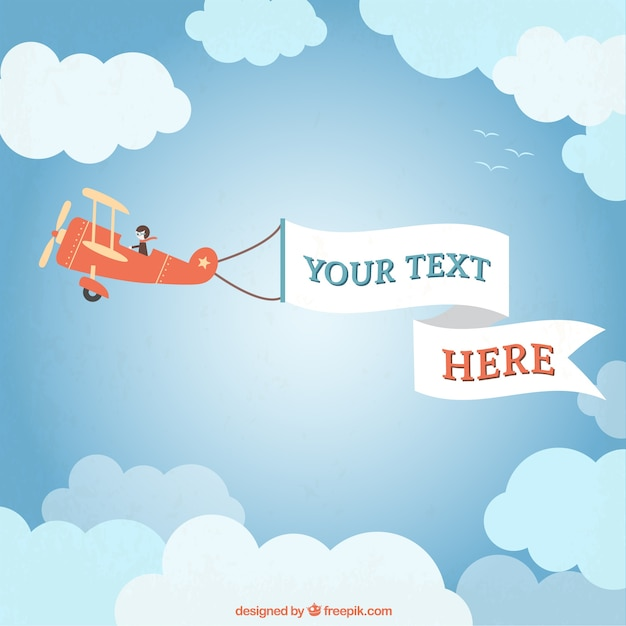 Light airplane with a banner | Premium Vector