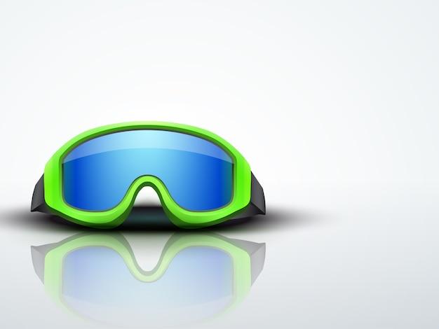 緑の雪のスキー用ゴーグルと明るい背景。防衛のスポーツシンボル。編集可能なイラスト。 Premiumベクター