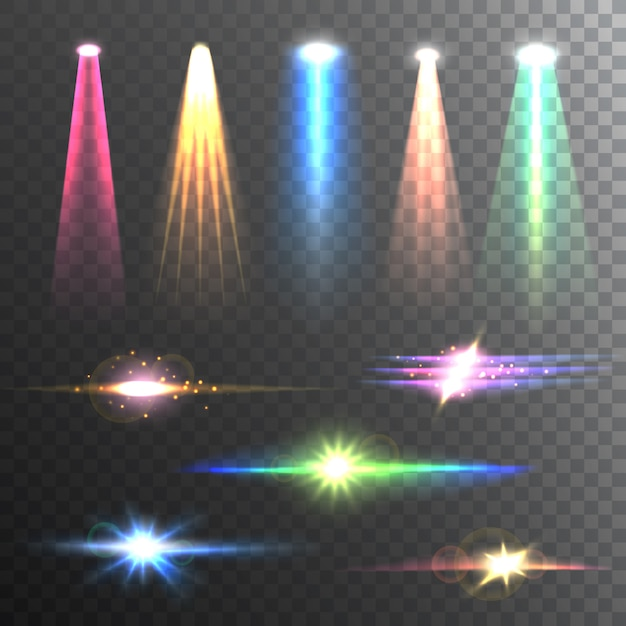 Light beams color on black composition Free Vector