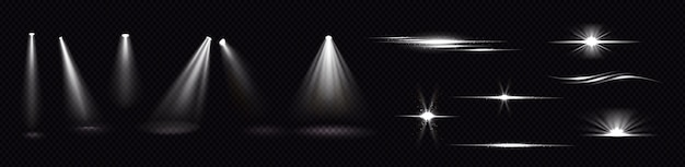 스포트라이트와 플래시의 광선은 투명한 배경에 고립되어 있습니다. 플레어 효과, 밝은 흰색 광선 및 스파크와 함께 눈부심의 현실적인 세트. 프로젝터의 빛과 플레어 무료 벡터