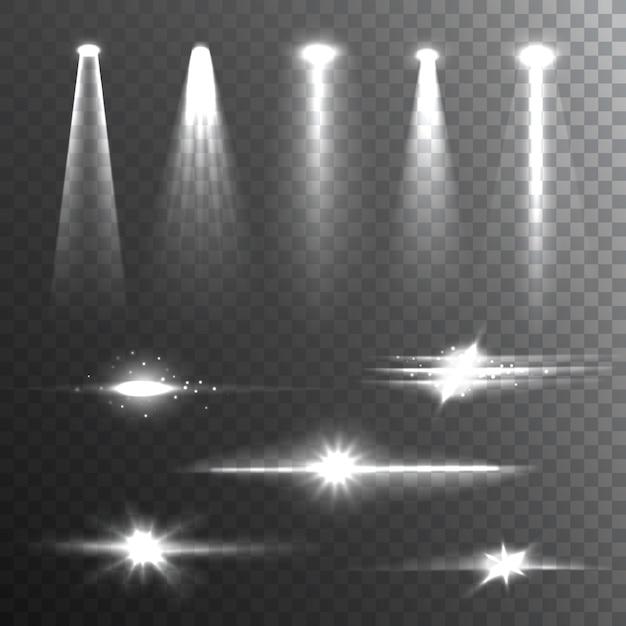 Световые лучи белый на черном композите Бесплатные векторы