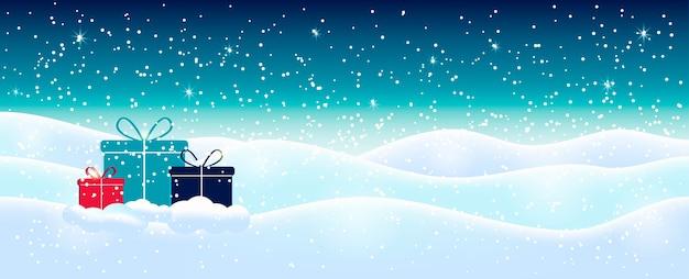 白い輝く雪片と水色の抽象的なクリスマスの背景。冬の休日のイラスト、プレゼントのある風景、テキストのスペース。 Premiumベクター