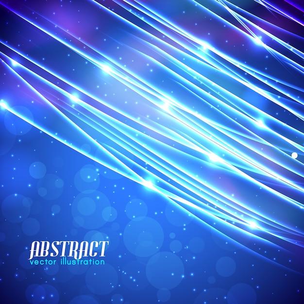 Estratto azzurro con linee scintillanti effetti luminosi ed illuminati su sfondo sfocato Vettore gratuito
