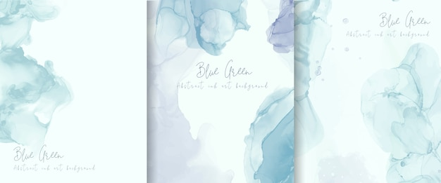 Light blue alcohol ink background collection. abstract fluid art painting design. Free Vector