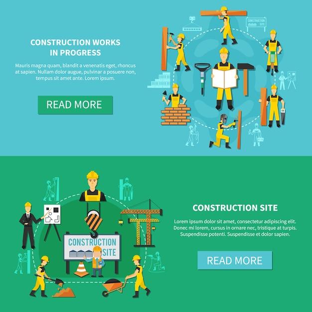 建設現場と進行中の説明が設定された水色と緑の建設労働者フラットバナー 無料ベクター