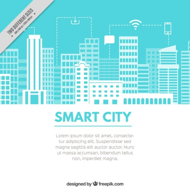 Light blue background with a technological city  Free Vector