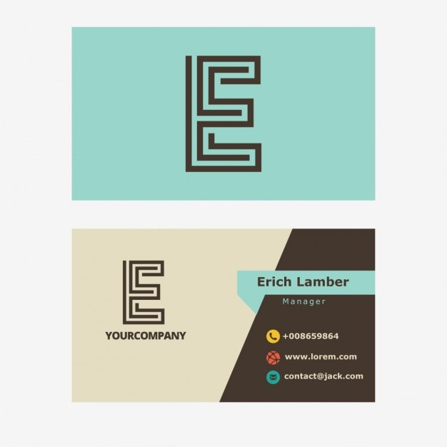Light blue business card with e letter Free Vector