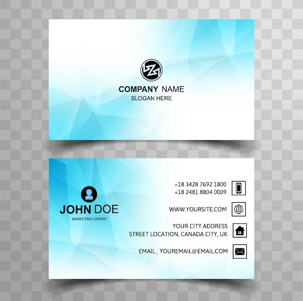 Light blue business card with polygonal shapes vector premium download light blue business card with polygonal shapes premium vector reheart Choice Image