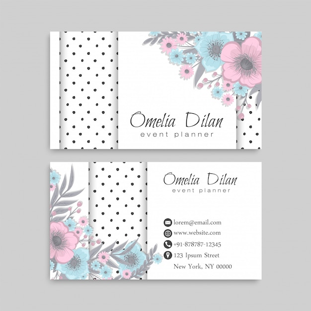 Light blue business cards flower template Premium Vector