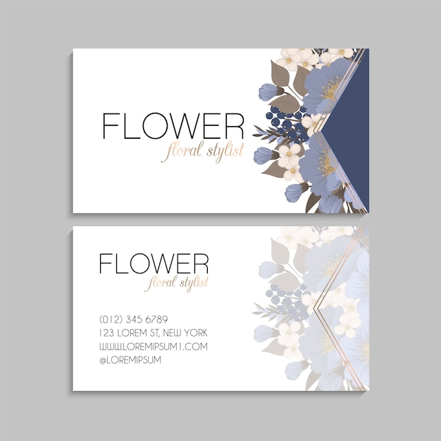 Light blue business cards flower template Free Vector