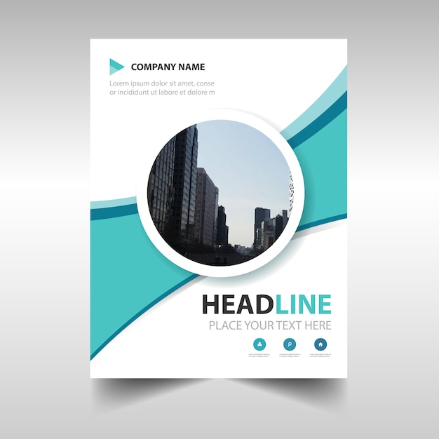 Light Blue Circular Creative Business Brochure Design Vector