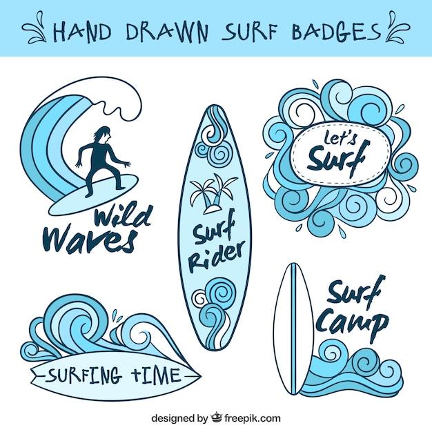 Light blue hand drawn surf badges