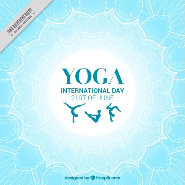 Light blue international yoga day\ background