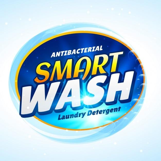 Light blue label for detergent Free Vector