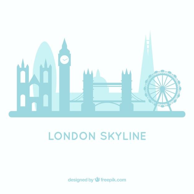 ライトブルーのロンドンのスカイラインデザイン 無料ベクター