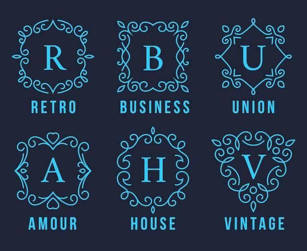 Голубые логотипы вензеля установить иллюстрацию на темно-сером фоне. Бесплатные векторы