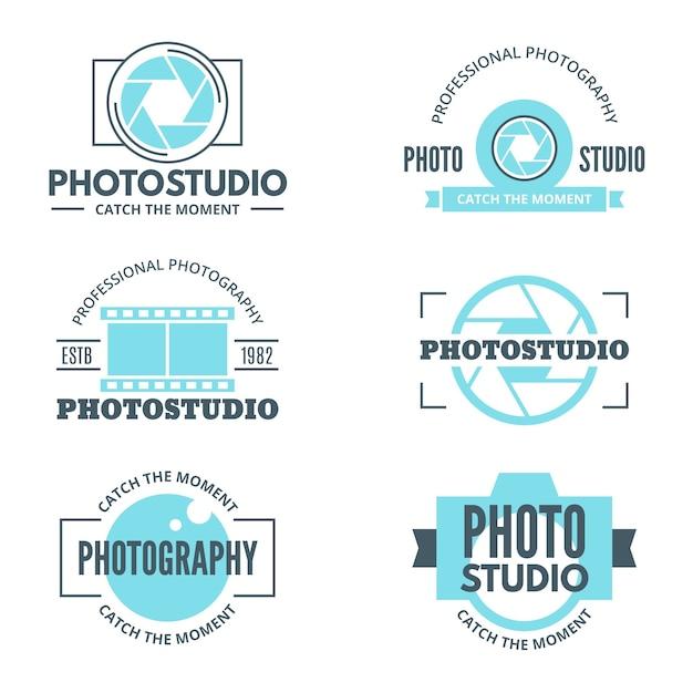 Light blue photo studio logotypes Free Vector