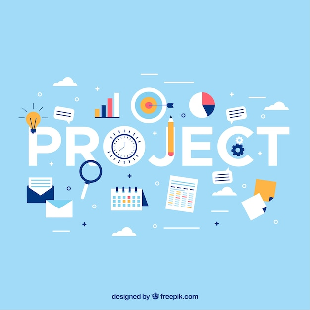 Light blue project management concept Free Vector