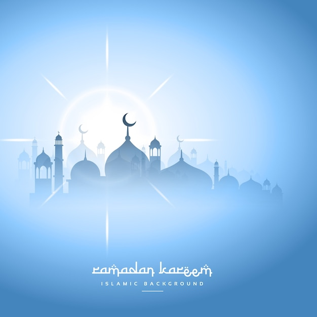 Light blue ramadan kareem background