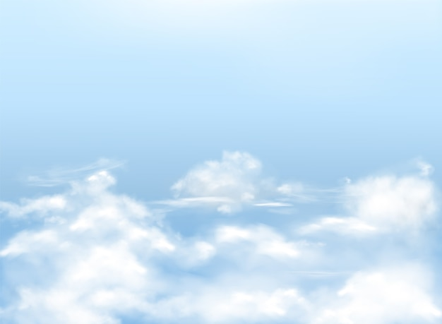 Light blue sky with white clouds, realistic background, natural banner with heavens. Free Vector