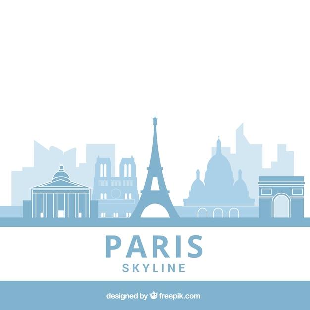 Light blue skyline of paris Free Vector