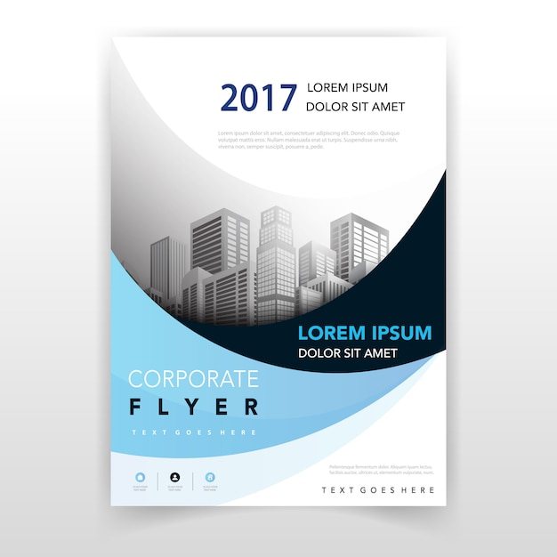 Light blue wavy flyer design Free Vector