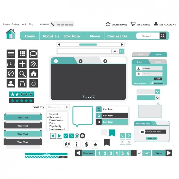 Light Blue Website Design Elements Vector