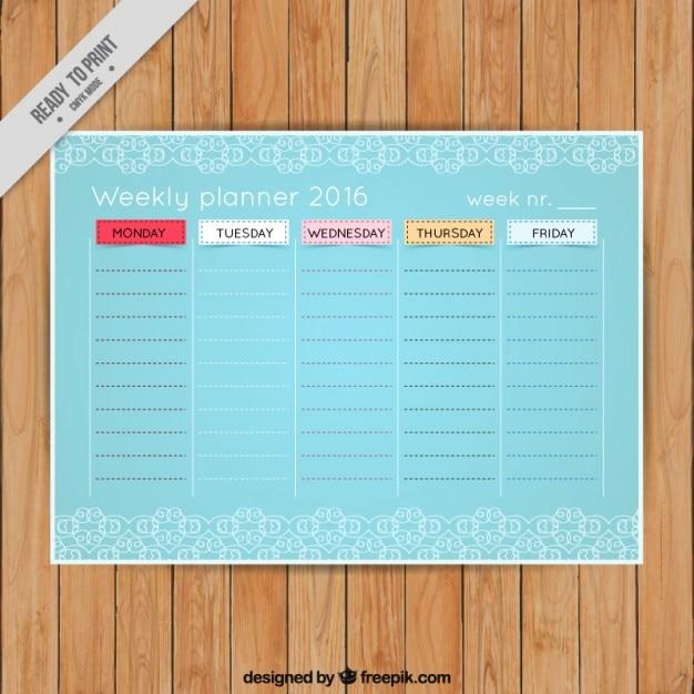 Light blue weekly planner 2016