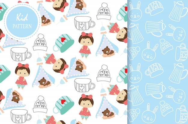 Light blue white seamless pattern with bear girl and cup Premium Vector