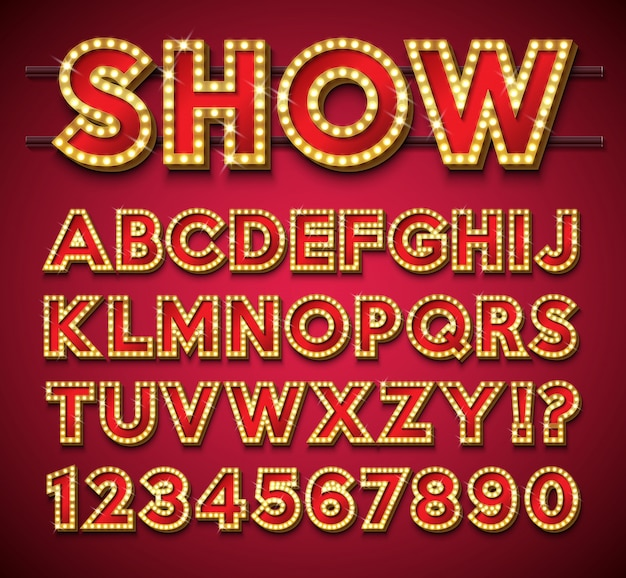 Light bulb alphabet with gold frame and shadow on red background. Premium Vector