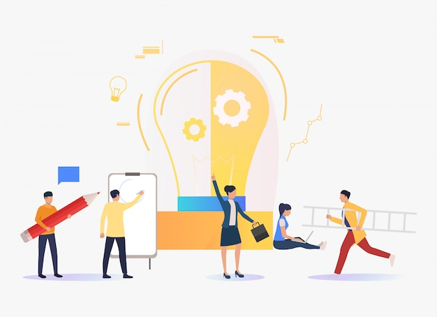 Light bulb, business people working and studying Free Vector
