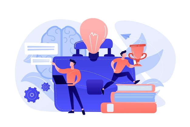Light bulb, businessman working with laptop and getting trophy cup. entrepreneurship, start up business and opportunity concept on white background. Free Vector