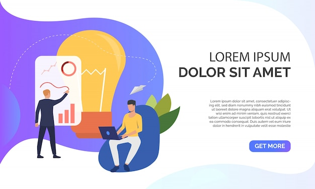 Light bulb and company staff working on project and sample text Free Vector