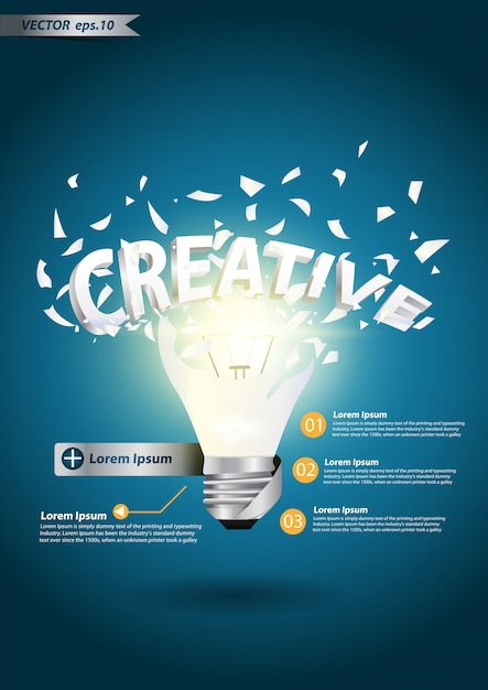 Light bulb creative alphabet explode concept Premium Vector