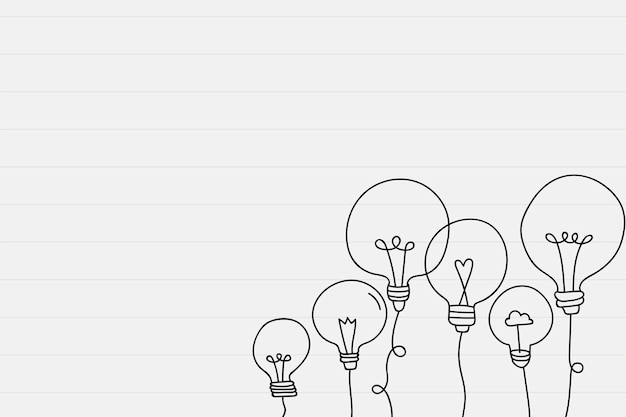 Light bulb doodle border Free Vector