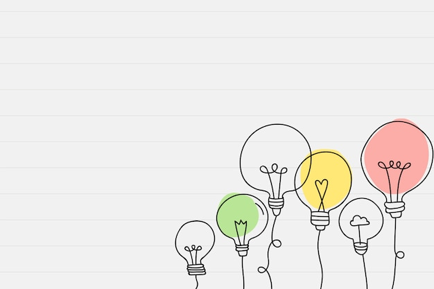 Light bulb doodle drawing in a paper Free Vector