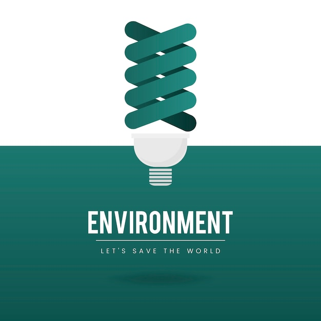 Light bulb environmental conservation vector Free Vector