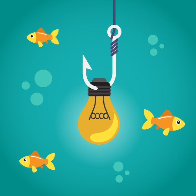Light bulb on fishing hook and fishes swimming Premium Vector