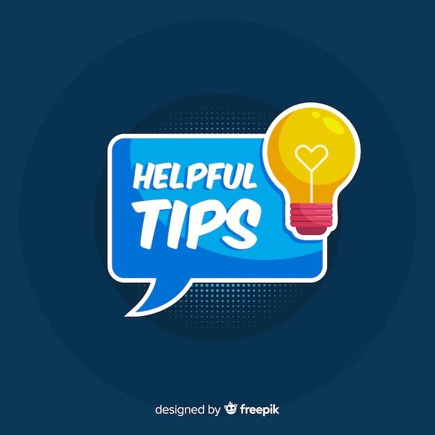 Light bulb helpful tip background Free Vector